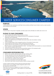 WATER SERVICESCONSUMER CHARTER PURPOSE