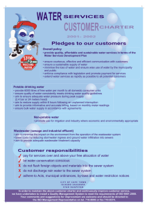WATER CUSTOMER Pledges to our customers SERVICES