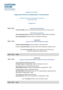 Angola after 40 Years of Independence: The Way Ahead Programme