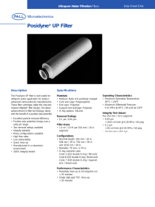 Posidyne UP Filter ® Ultrapure Water Filtration