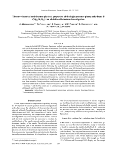 Thermo-chemical and thermo-physical properties of the high-pressure phase anhydrous B (Mg Si O