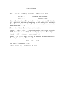 Quiz #4 Solutions ab − ac = 0