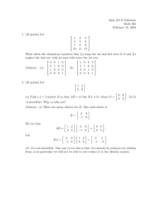 Quiz #2 & Solutions Math 304 February 12, 2003 1. [10 points] Let