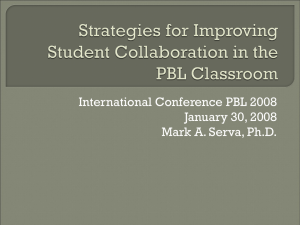 International Conference PBL 2008 January 30, 2008 Mark A. Serva, Ph.D.