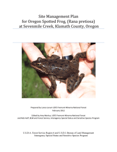 Site Management Plan for Oregon Spotted Frog, (Rana pretiosa)