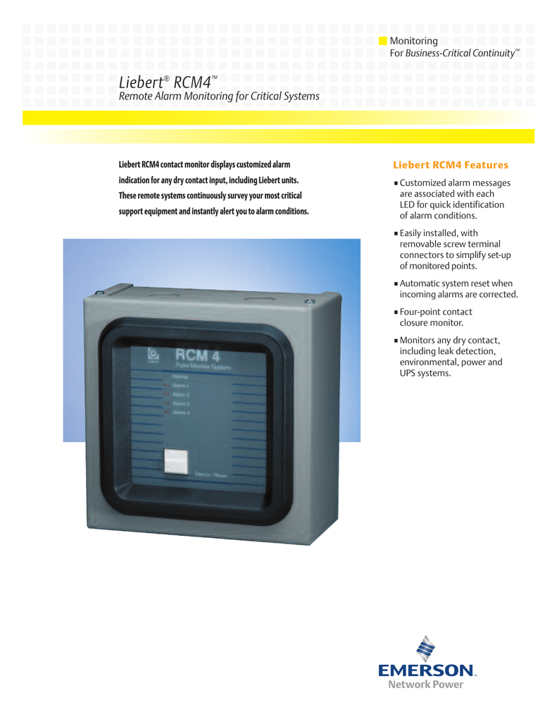 Liebert RCM4 Remote Alarm Monitoring for Critical Systems Monitoring