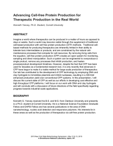 Advancing Cell-free Protein Production for Therapeutic Production in the Real World  ABSTRACT