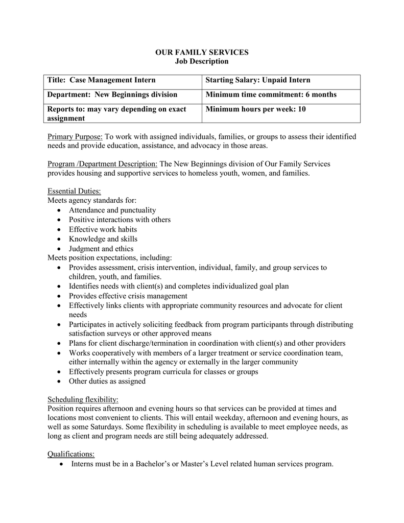 Our Family Services Job Description Title Case Management Intern