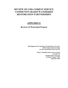REVIEW OF USDA FOREST SERVICE COMMUNITY-BASED WATERSHED RESTORATION PARTNERSHIPS APPENDIX E
