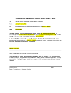 Recommendation Letter for Post-Completion Optional Practical Training To:
