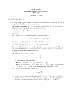 Math 470.502 Communications & Cryptography HW #3 September 19, 2014