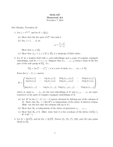 Math 627 Homework #4 November 7, 2014 Due Monday, November 24