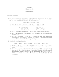Math 654 Homework #1 February 2, 2007 Due Friday, February 9.