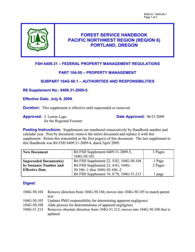 Forest Service Handbook Pacific Northwest Region Region 6 Portland