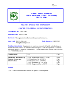FOREST SERVICE MANUAL UINTA NATIONAL FOREST (REGION 4) PROVO, UTAH