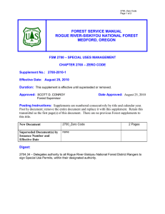 FOREST SERVICE MANUAL ROGUE RIVER-SISKIYOU NATIONAL FOREST MEDFORD, OREGON