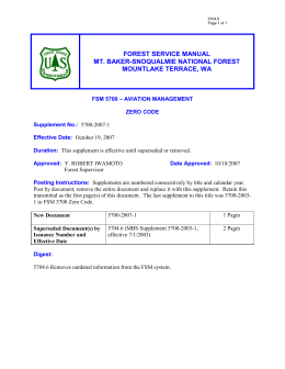 FOREST SERVICE MANUAL MT. BAKER SNOQUALMIE NATIONAL FOREST MOUNTLAKE TERRACE,  WA