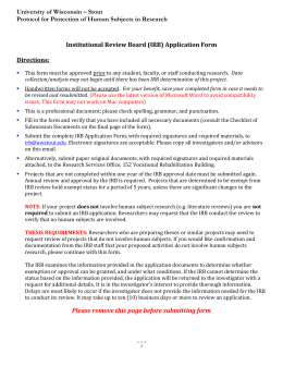 MODIFICATION/REVISION REQUEST FORM University of Wisconsin Stout
