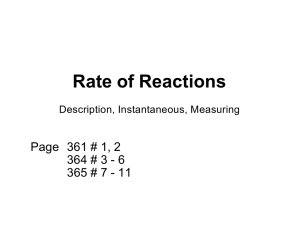 Rate of Reactions Page  361 # 1, 2