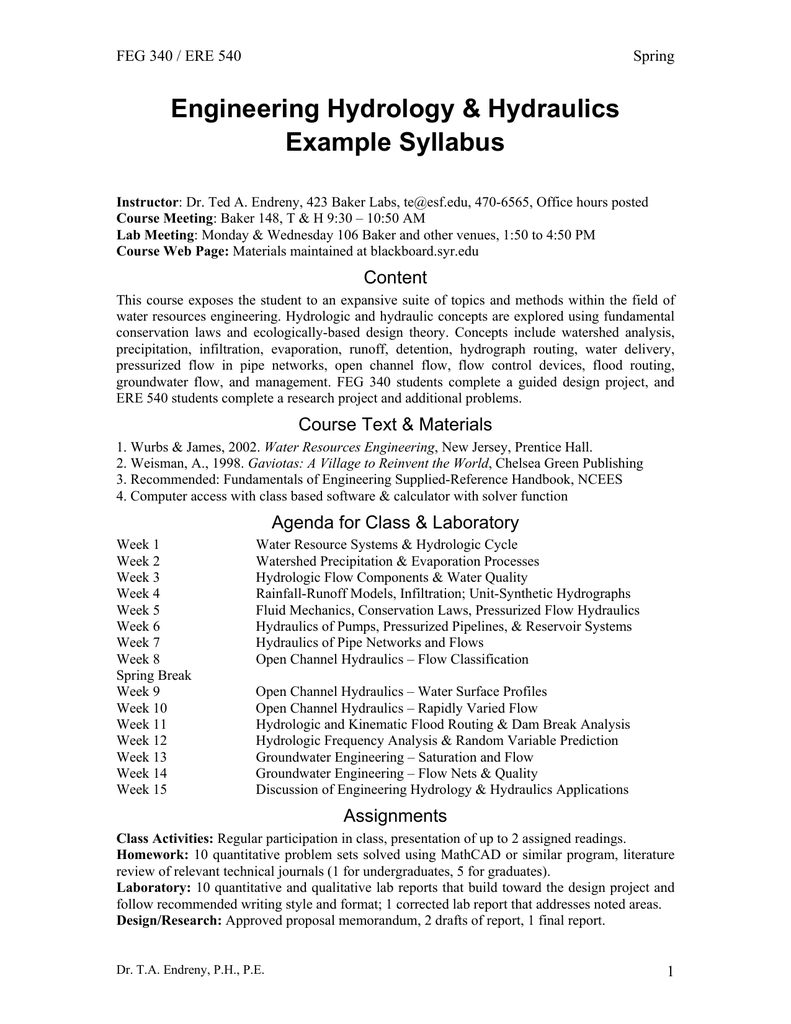 engineering hydrology hydraulics example syllabus content