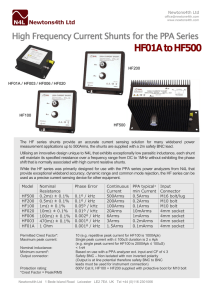 HF01A to HF500 High Frequency Current Shunts for the PPA Series