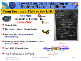 Toward an Understanding of Hadron-Hadron Collisions From Feynman-Field to the LHC Rick Field