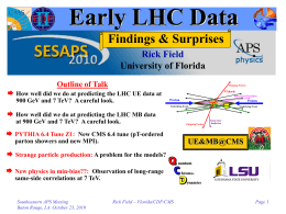 Early LHC Data Findings & Surprises Rick Field University of Florida
