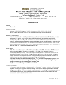 MGMT 3000: Integrated Skills for Management Professor Kathleen A. Tomlin, Ph.D.