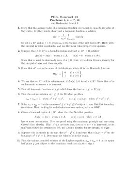 PDEs, Homework #4 Problems: 1, 2, 4, 7, 10 1.