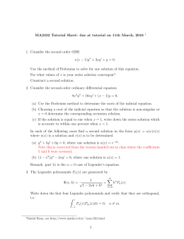 MA2332 Tutorial Sheet: due at tutorial on 11th March, 2016