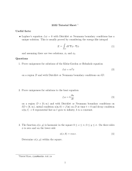 2332 Tutorial Sheet Useful facts: