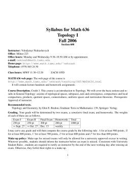 Syllabus for Math 636 Topology I Fall 2006