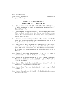 Math 411 — Problem Set 3 Issued: 06.23 Due: 06.30