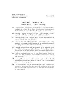Math 411 — Problem Set 4 Issued: 07.02 Due: training