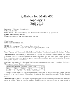Syllabus for Math 636 Topology I Fall 2015