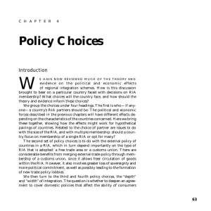 W Policy Choices Introduction