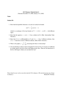 1S3 (Timoney) Tutorial sheet 4 Name: Student ID: