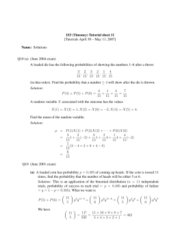 1S3 (Timoney) Tutorial sheet 11 Name: Solutions Q10 (a) (June 2004 exam)