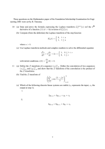 These questions on the Mathematics paper of the Foundation Scholarship... neering 2001 were set by R. Timoney.