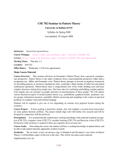 CSE 702 Seminar in Pattern Theory University at Buffalo SUNY