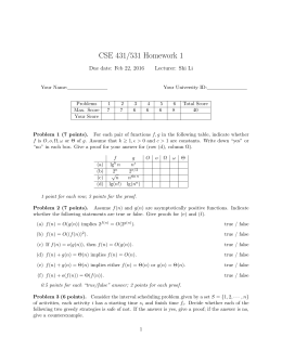CSE 431/531 Homework 1 Due date: Feb 22, 2016 Lecturer: Shi Li