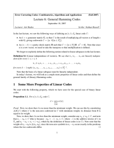 Lecture 6: General Hamming Codes