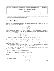 Lecture 18: Johnson Bound