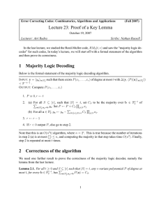 Lecture 23: Proof of a Key Lemma