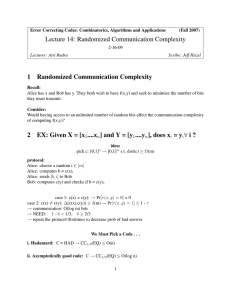 Lecture 14: Randomized Communication Complexity