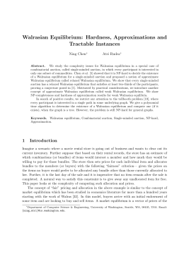 Walrasian Equilibrium: Hardness, Approximations and Tractable Instances Ning Chen Atri Rudra