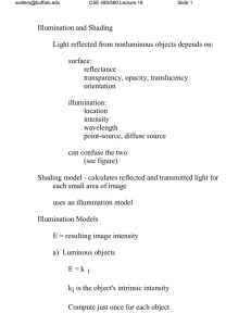 Illumination and Shading Light reflected from nonluminous objects depends on: surface: reflectance