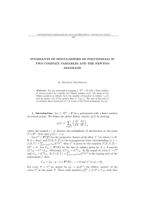 INVARIANTS OF SINGULARITIES OF POLYNOMIALS IN DIAGRAMS by Mateusz Masternak