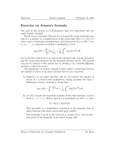 Exercise on Jensen's formula