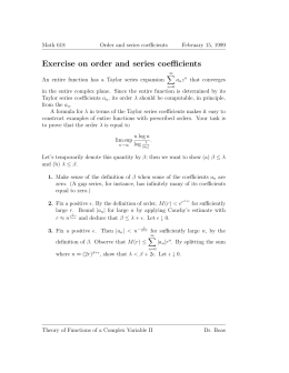 Exercise on order and series coefficients